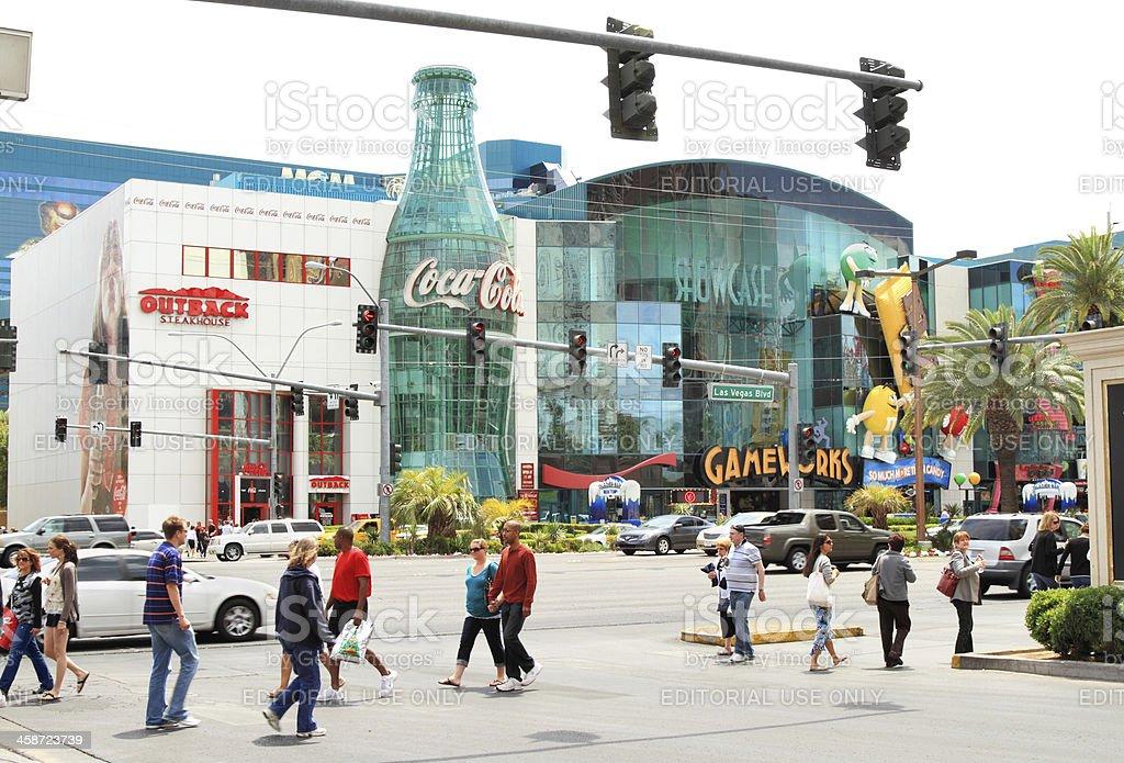 Pedestrian crossing on Las Vegas strip near Coca Cola World stock photo