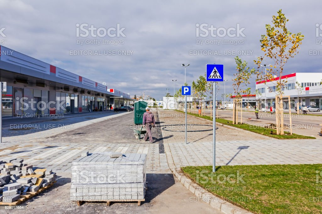 Pedestrian crossing, Road sign stock photo
