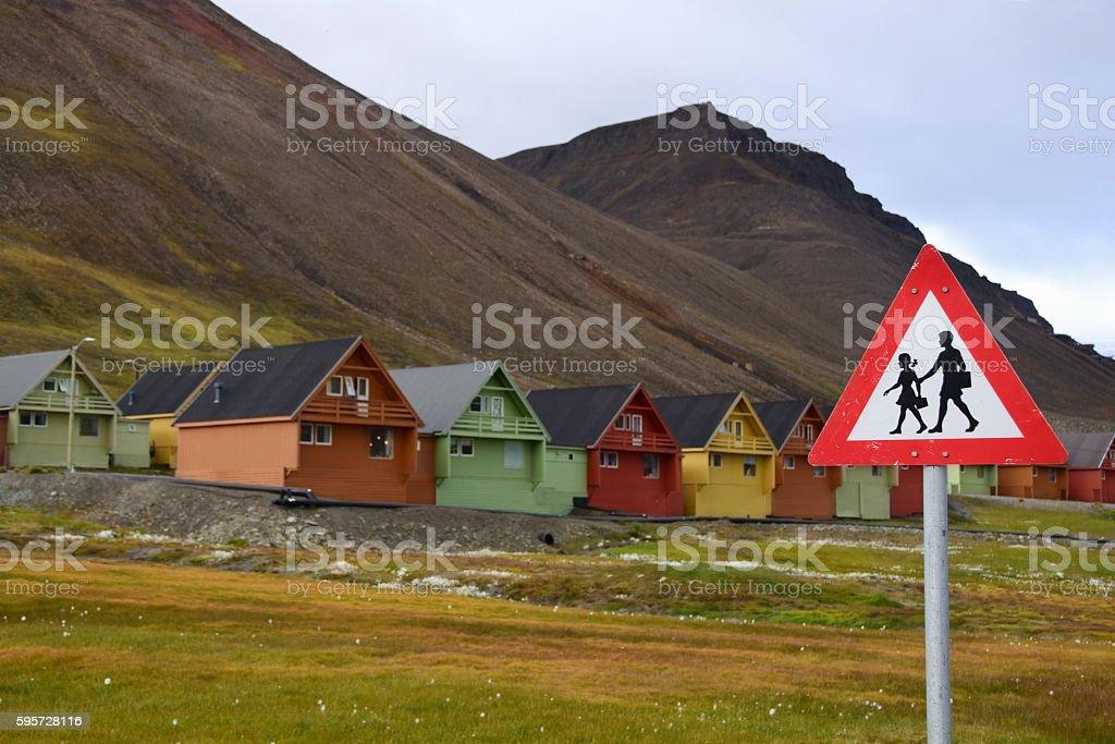 Pedestrian Crossing Sign in Longyearbyen, Norway stock photo