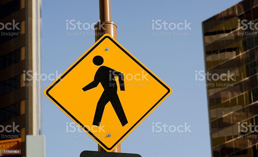 Pedestrian Crossing Sign on Street Corner Downtown stock photo