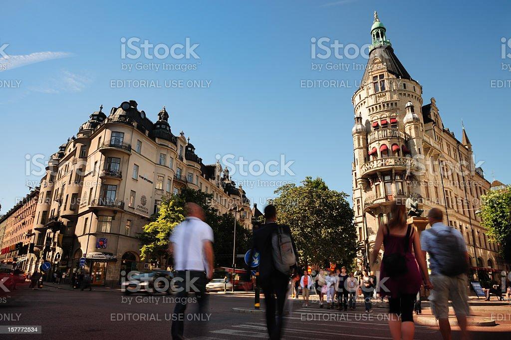 Pedestrian crossing street, Stureplan, motion blur royalty-free stock photo