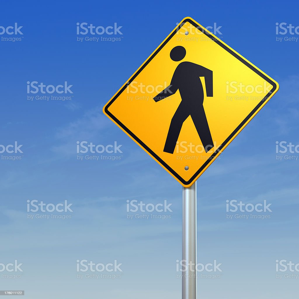 Pedestrian crossing - yellow warning road sign royalty-free stock photo