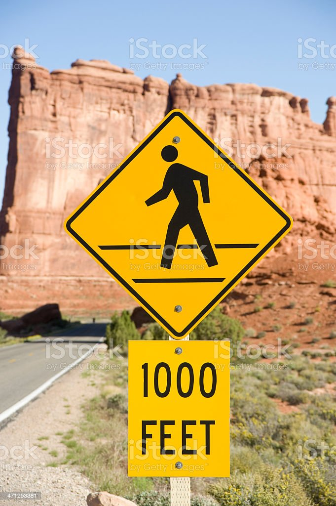 Pedestrian Crosswalk Sign in Arches National Park stock photo