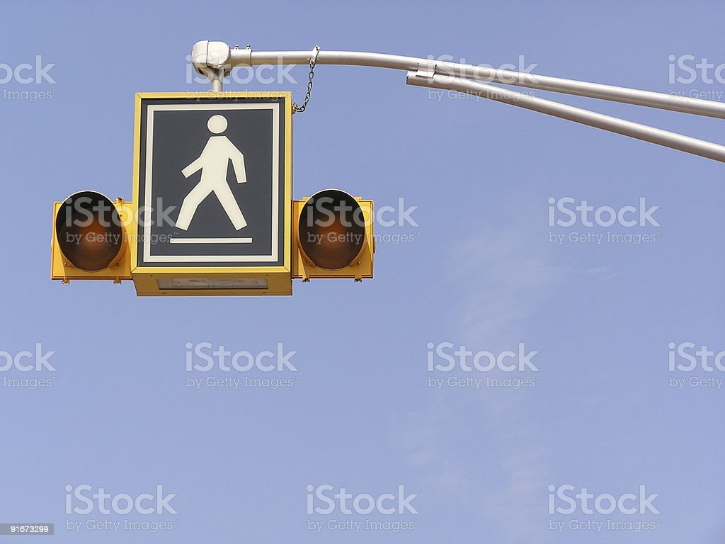 Pedestrian Crosswalk Sign with Lights royalty-free stock photo