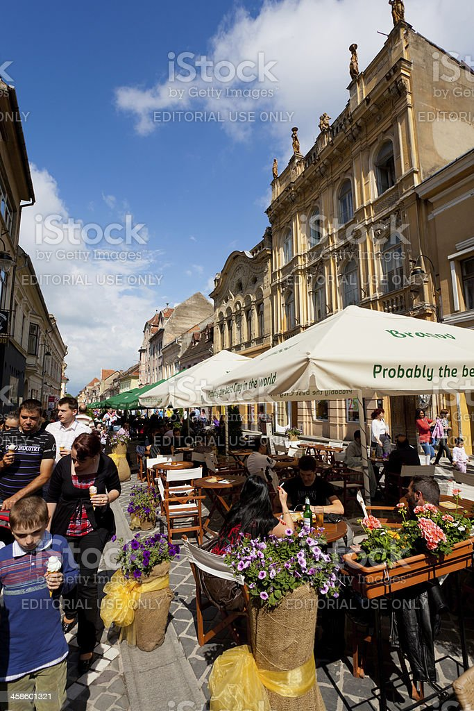 Pedestrian district in the centre of Brasov, Romania stock photo