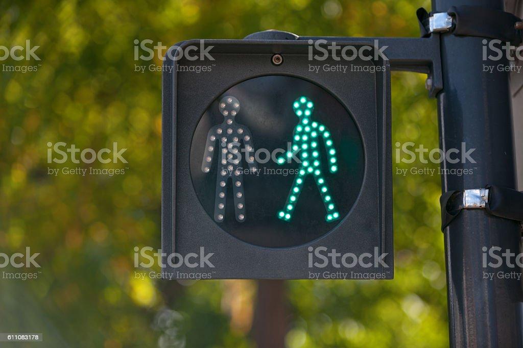 Pedestrian green light stock photo