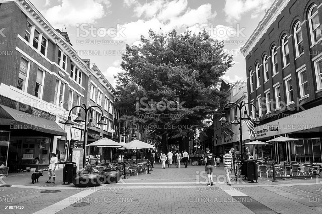 Pedestrian Mall in Charlottesville, Virginia stock photo