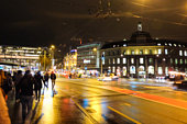 Pedestrian on Footpath with Traffic- Night street of lucerne,switzerland