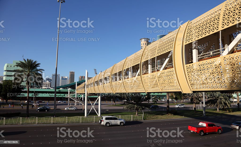Pedestrian overpass in Abu Dhabi royalty-free stock photo