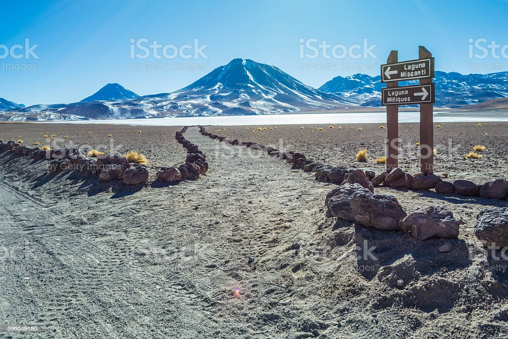 Pedestrian path at the atacama desert stock photo
