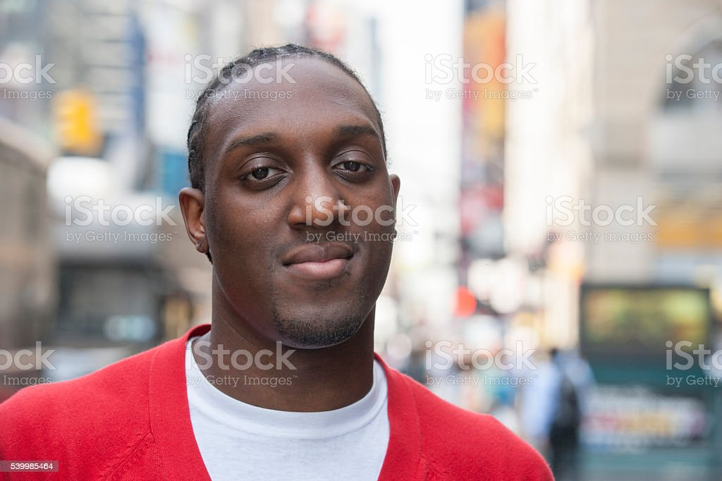 Pedestrian portrait in city stock photo