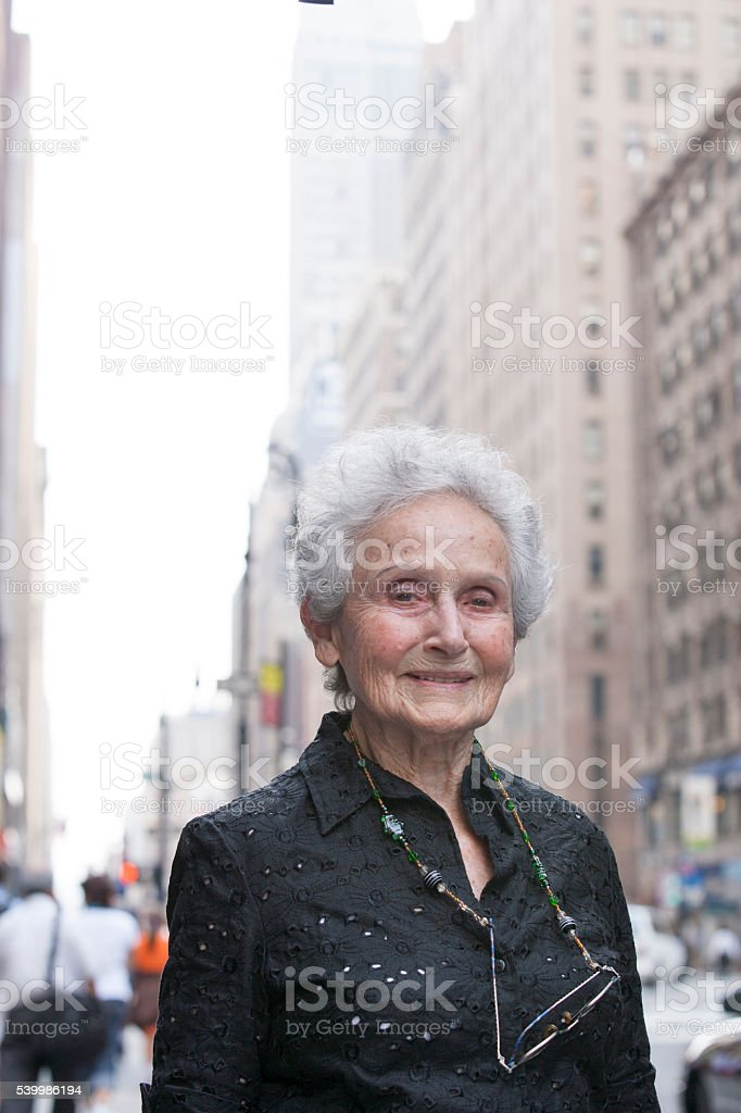 Pedestrian portrait in city stock photo