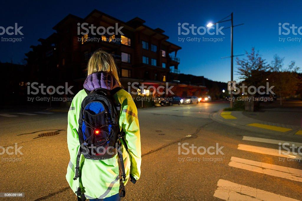 Pedestrian safety at night stock photo