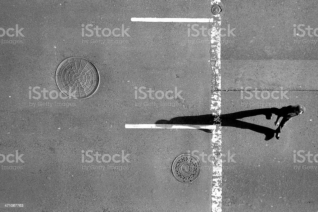 Pedestrian seen from above stock photo