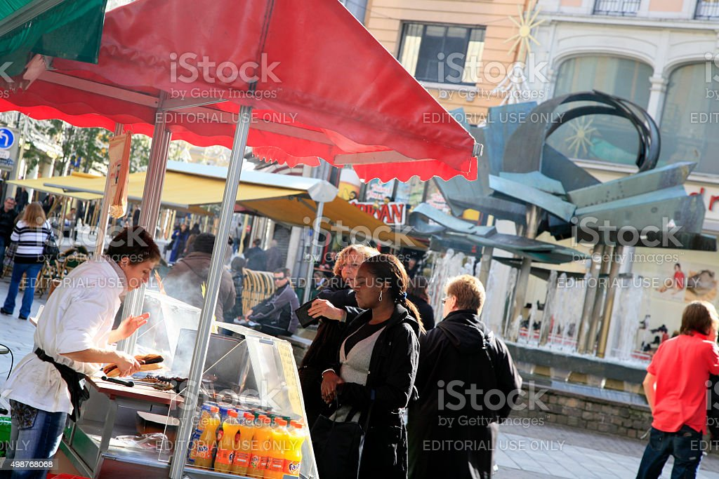 Pedestrian shopping street, Mulhouse downtown, Alsace, France stock photo