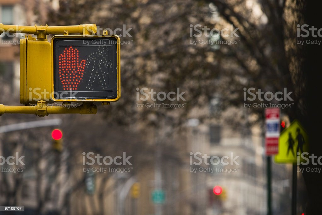 Pedestrian stop light stock photo