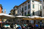 Pedestrian Street and Outdoor Restaurant in Verona, Italy.