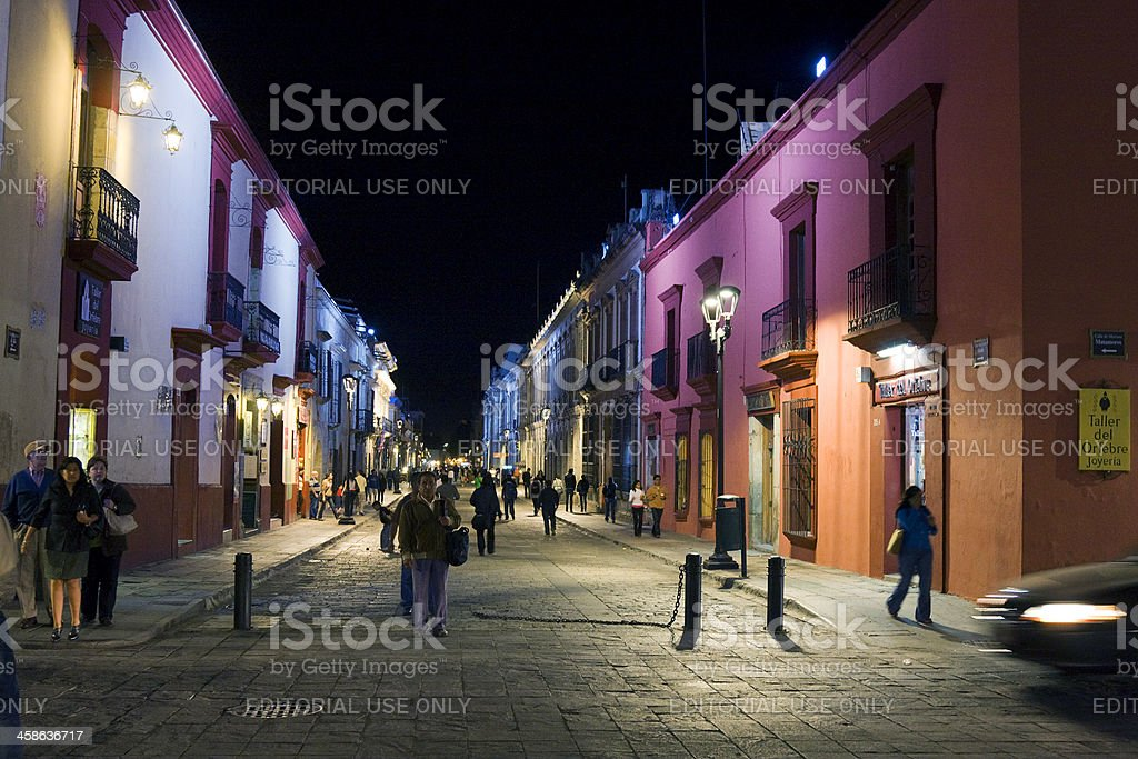 pedestrian street in oaxaca stock photo