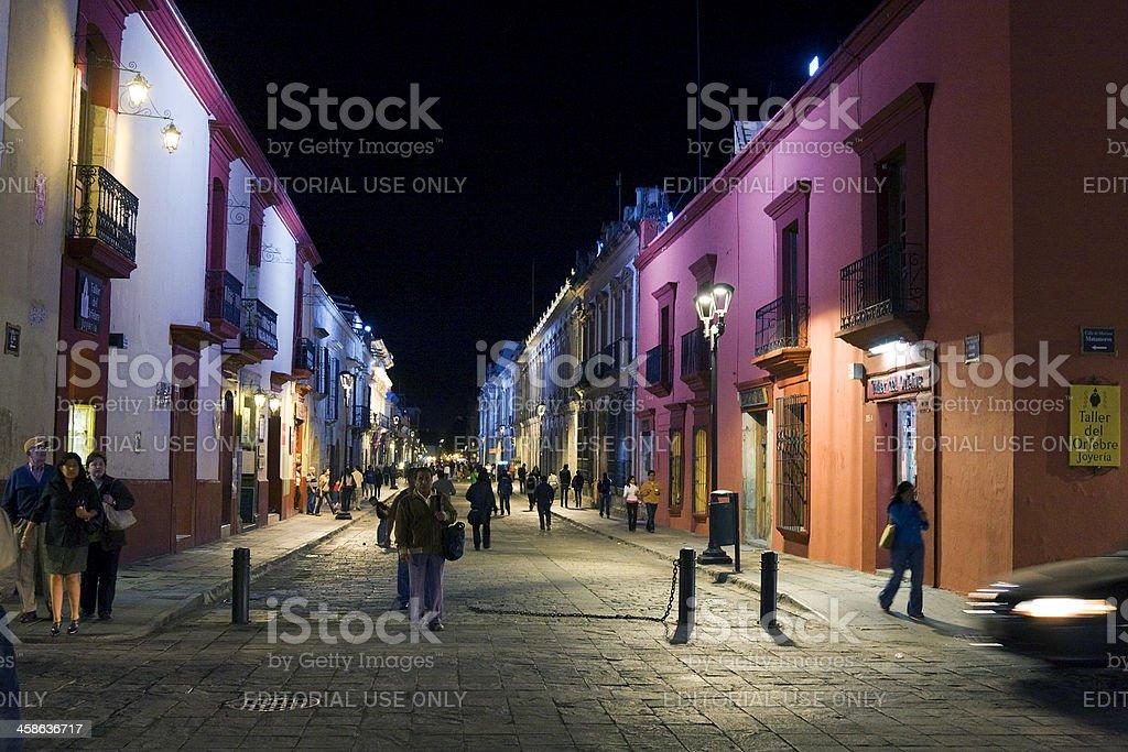 pedestrian street in oaxaca stock photo