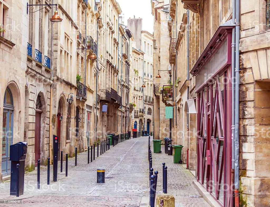Pedestrian Street in Old City, Bordeaux stock photo