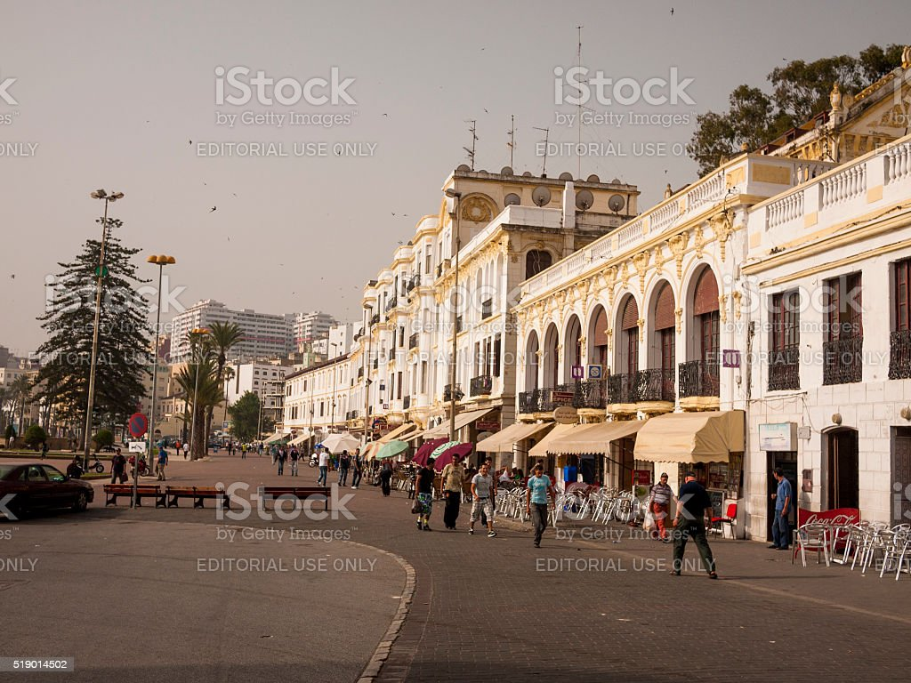 Pedestrian Street in Tangiers, Morocco stock photo
