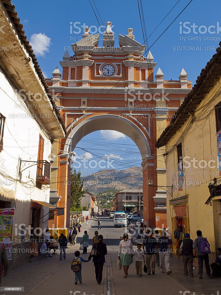 Pedestrian street in the historic part of Ayacucho, Peru royalty-free stock photo