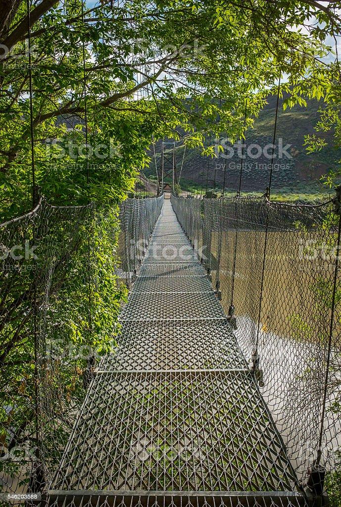 Pedestrian Suspended Bridge stock photo