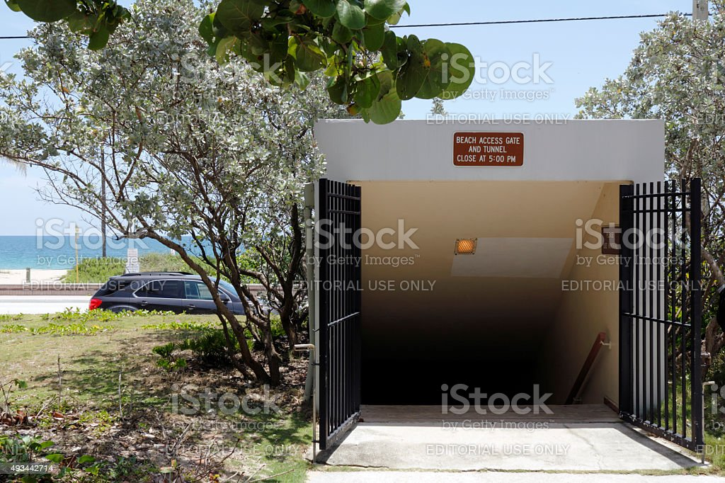 Pedestrian Tunnel Entrance to the Beach from Birch Park stock photo