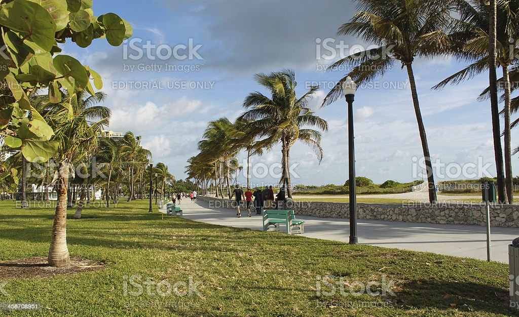 Pedestrian walkway in a morning before Christmas. Miami Beach, Florida royalty-free stock photo