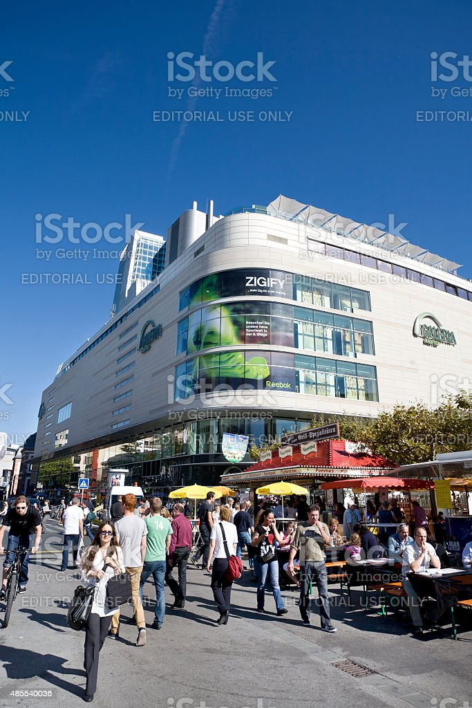 Pedestrians and Galeria Kaufhof Store in the center of Frankfurt stock photo