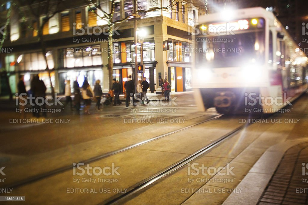 Pedestrians and public transportation stock photo