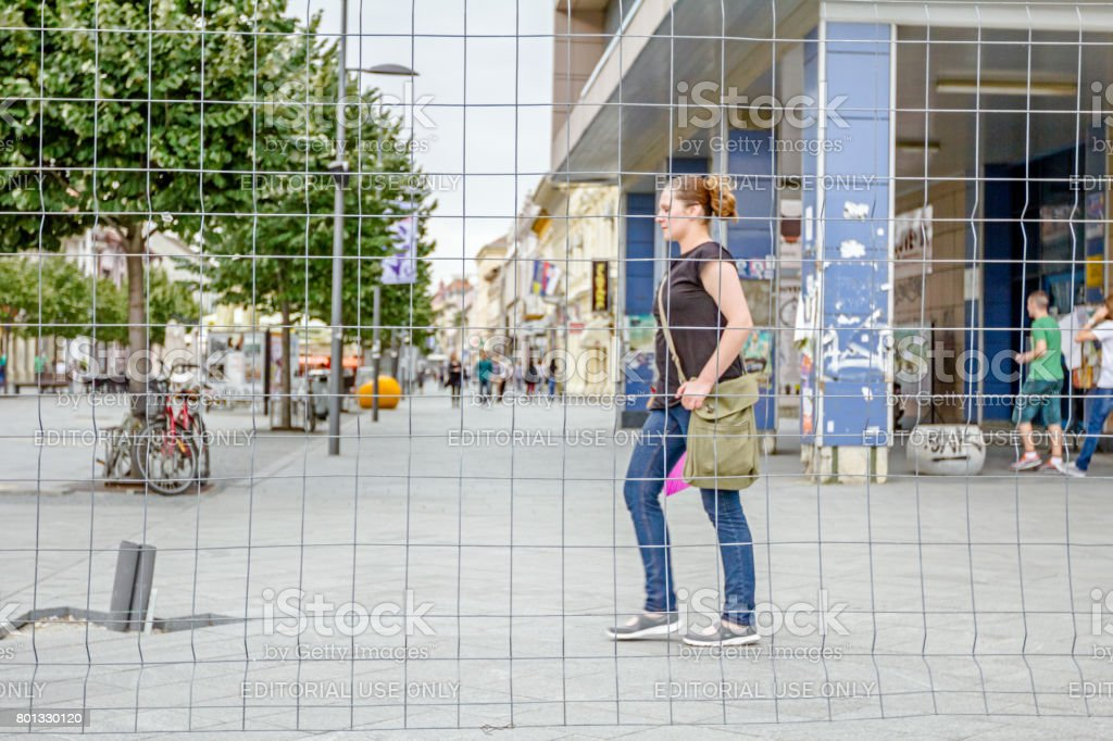 Pedestrians are walking in confined space stock photo