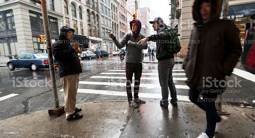 Pedestrians at Rainy Chinatown Manhattan New-York stock photo