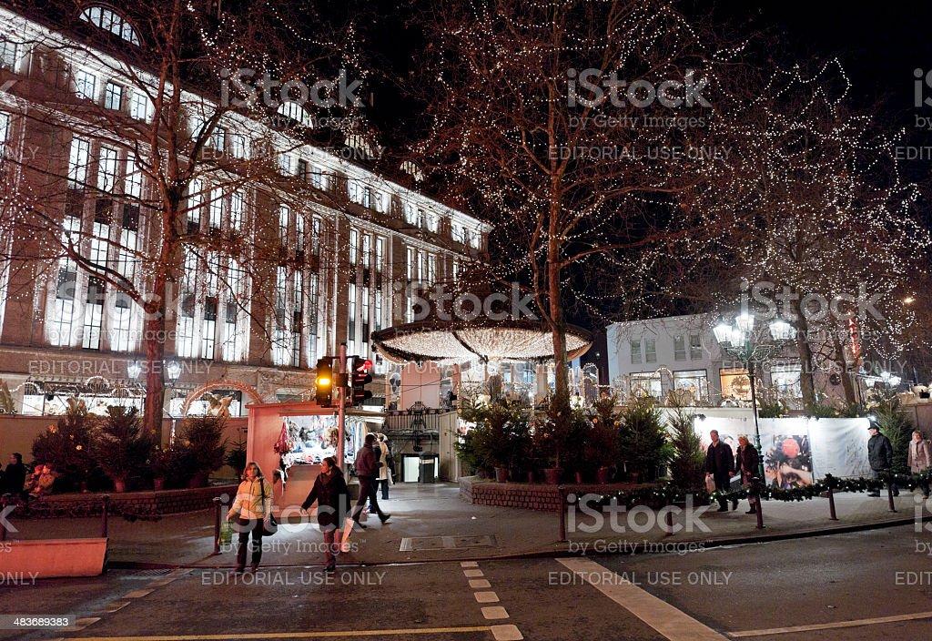 pedestrians at zebra crossing in Dusseldorf Germany stock photo
