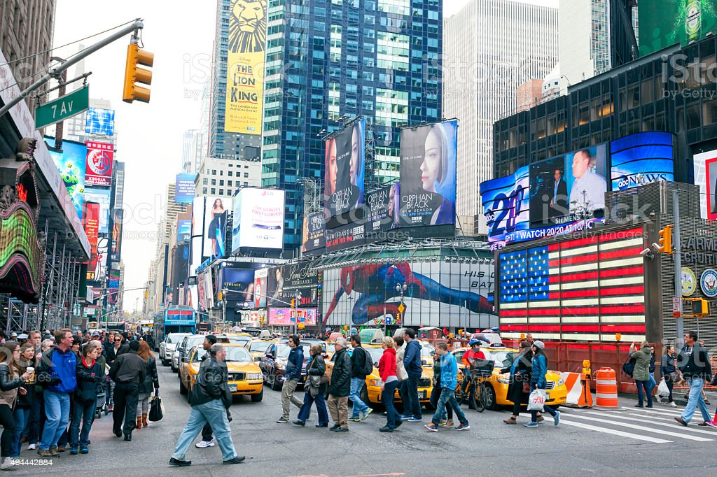 Pedestrians Crossing 7th Avenue in Times Square, New York City stock photo