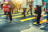 Pedestrians crossing Road in  Hong Kong