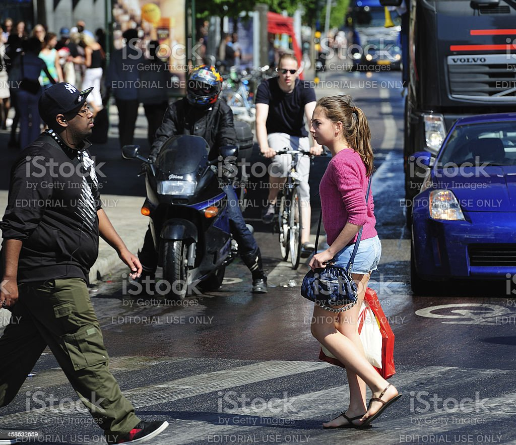 Pedestrians crossing street royalty-free stock photo