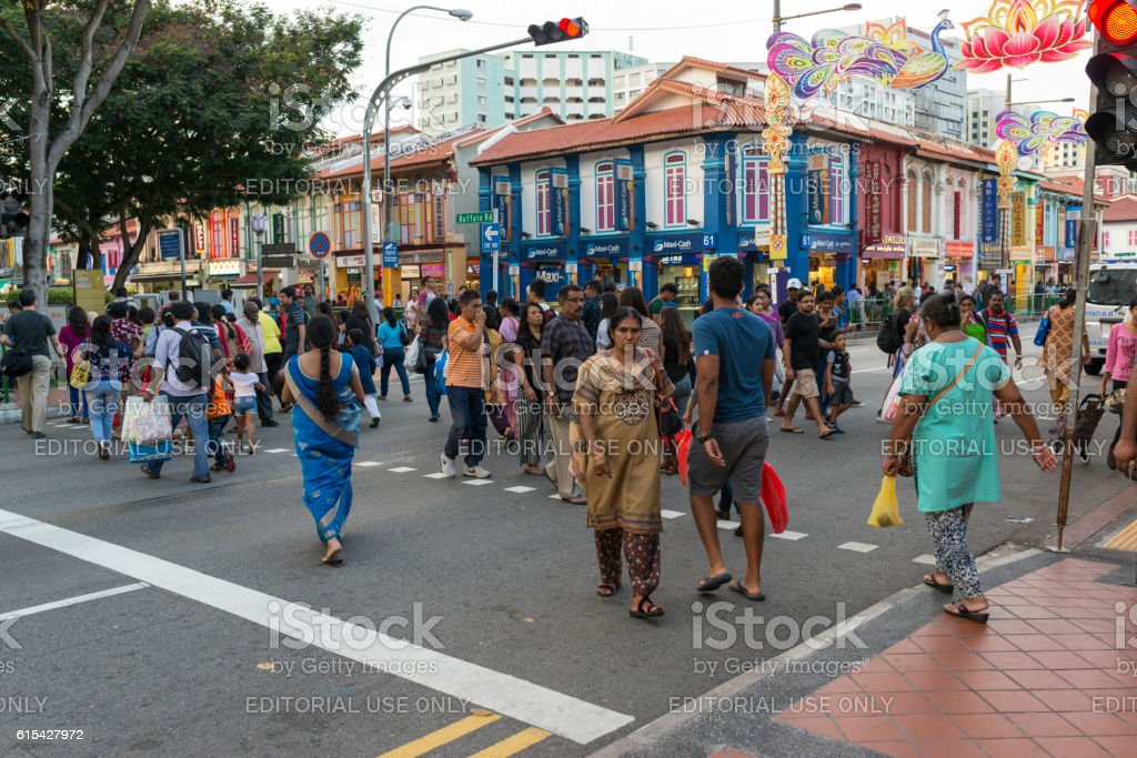 Pedestrians Crossing The Road at Little India, Singapore stock photo