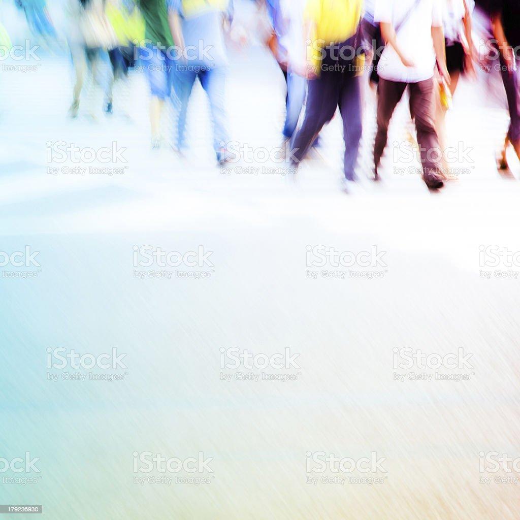 pedestrians in city street stock photo