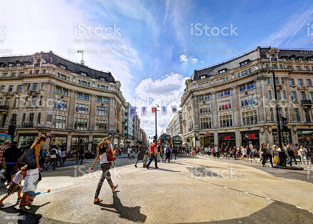 Pedestrians in Oxford Circus stock photo