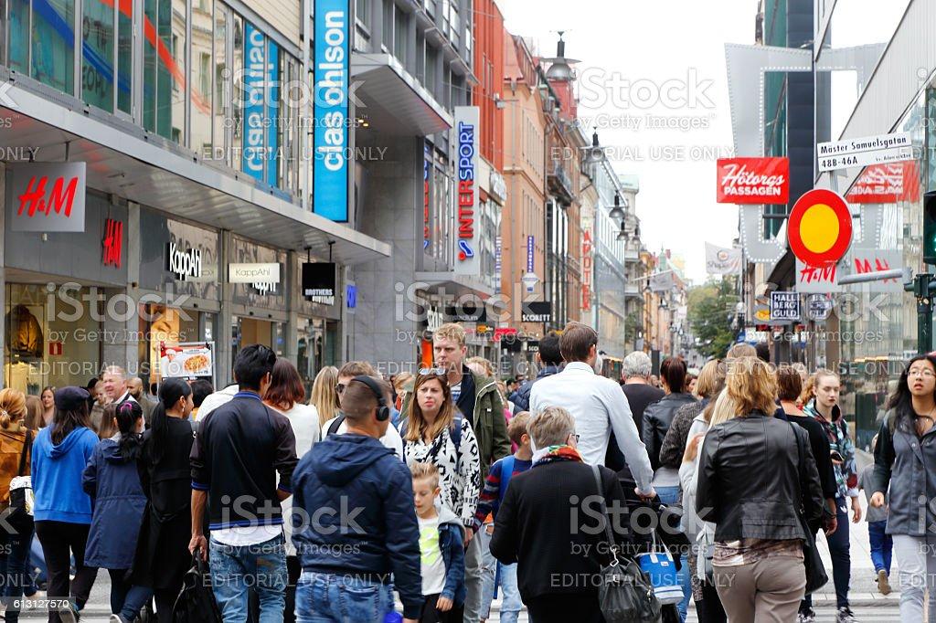Pedestrians in Stockholm stock photo