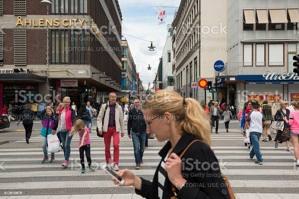 Pedestrians in Stockholm, Sweden stock photo