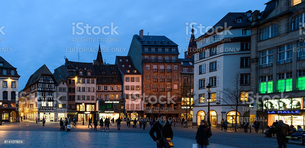 Pedestrians in Strasbourg at evening stock photo