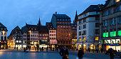 Pedestrians in Strasbourg at evening