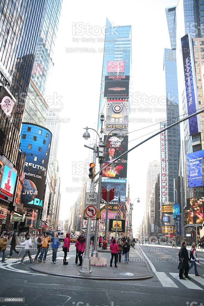 Pedestrians in Times Square royalty-free stock photo