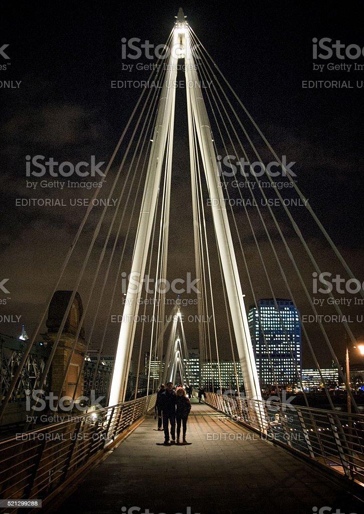 Pedestrians on Jubilee Bridge stock photo