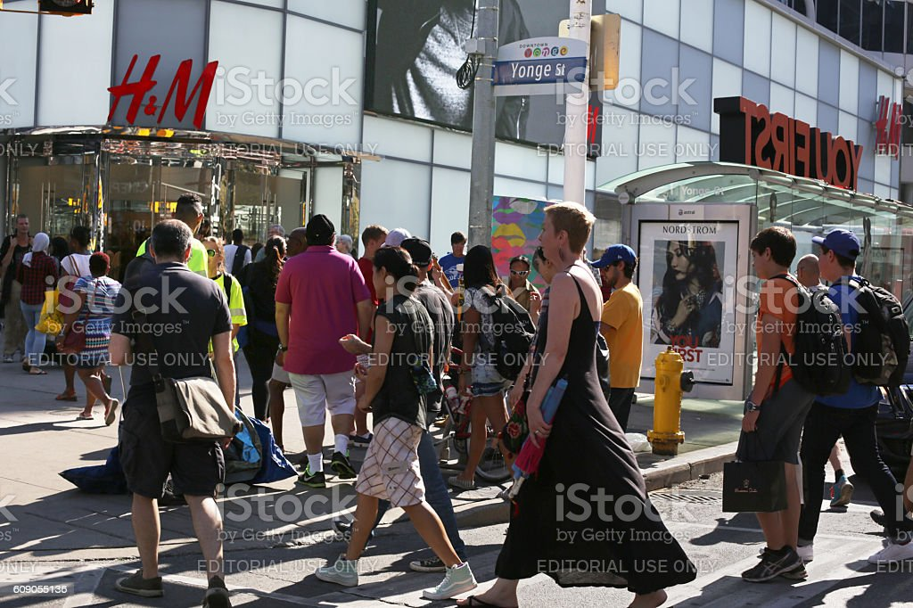 Pedestrians on Scramble Intersection at Yonge Street, Downtown Toronto, Canada stock photo