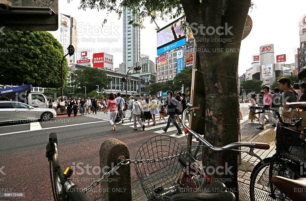 Pedestrians on Shibuya Crossing, Tokyo, Japan in Spring stock photo