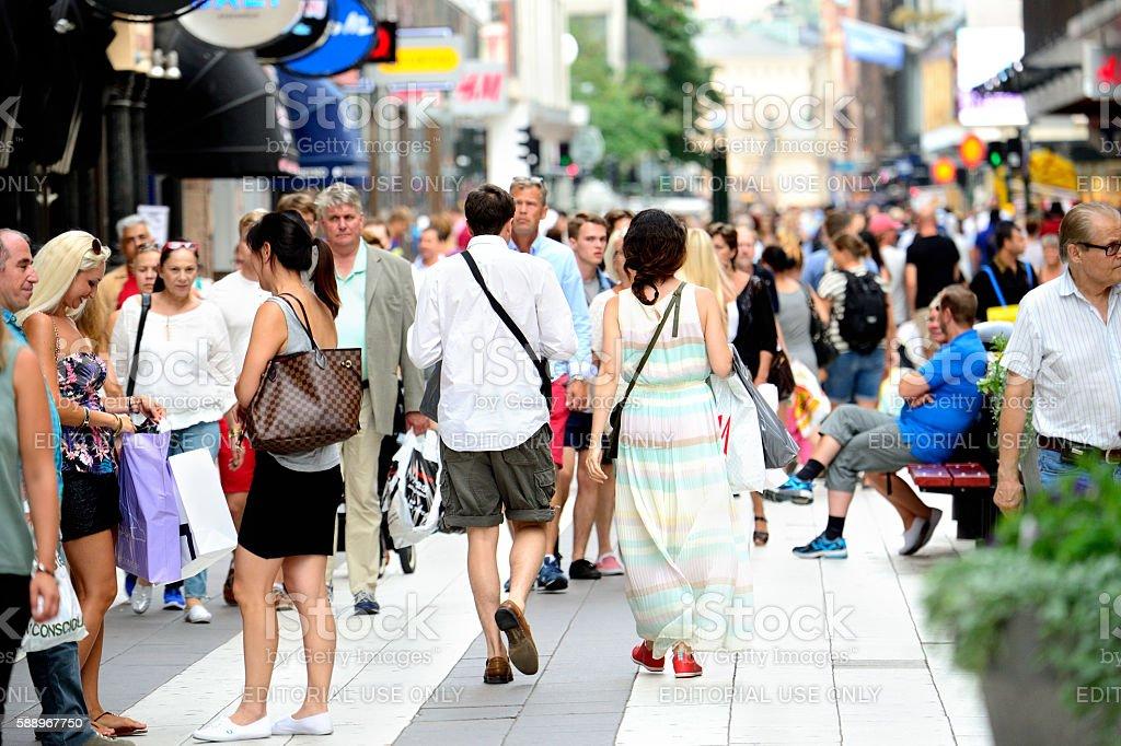 Pedestrians on street Drottninggatan, Stockholm, Sweden stock photo