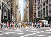 Pedestrians on zebra crossing, New York City